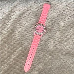 Pink silicon Geneva Watch